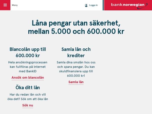 Bank Norwegian - Privatlån på upp till 600 000 kronor