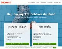 Monetti - Kontokredit eller snabblån upp till 20 000 kronor